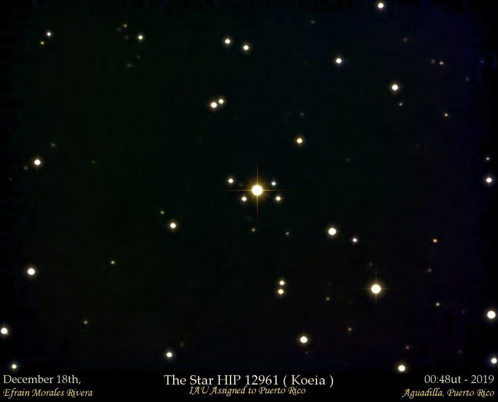 Foto de la estrella HIP 12961 también conocida como Koeia, nombre taíno que significa estrella.