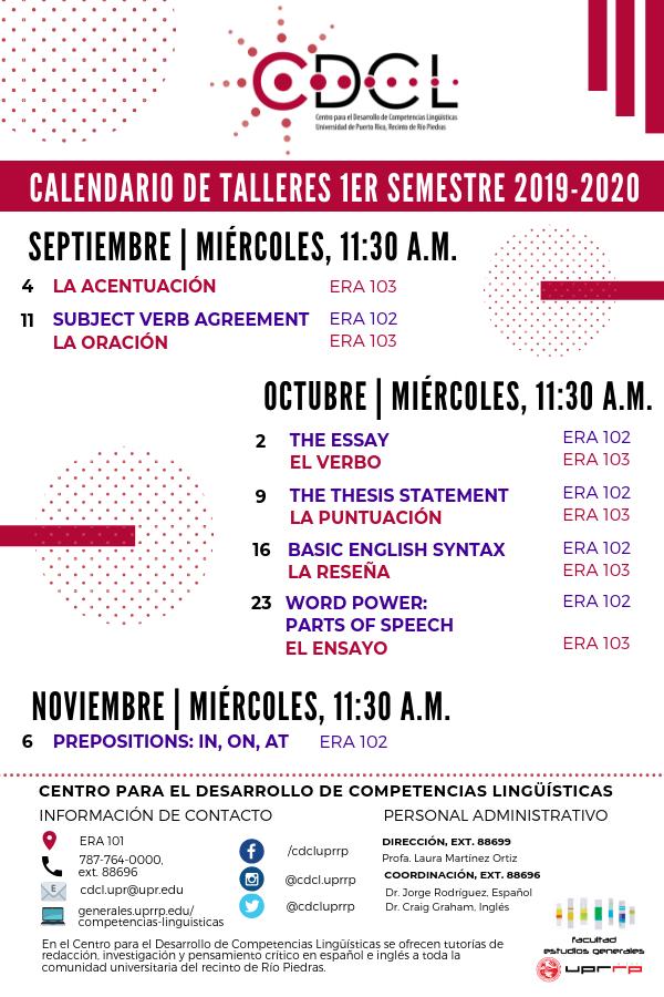 Calendario de talleres primer semestre 2019-2020